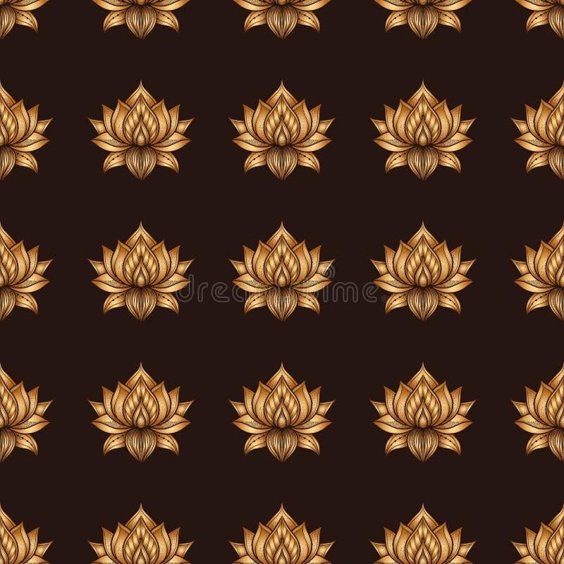Bezszwowy wzór z lotosowymi kwiatami Wektorowa ręka rysująca ilustracja ilustracja wektor