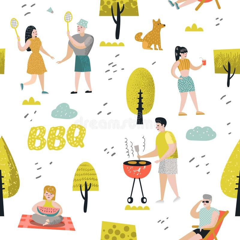 Bezszwowy wzór z ludźmi na BBQ przyjęciu Przyjaciele na lato grillu i grilla tle Plenerowy Kulinarny mięso ilustracji