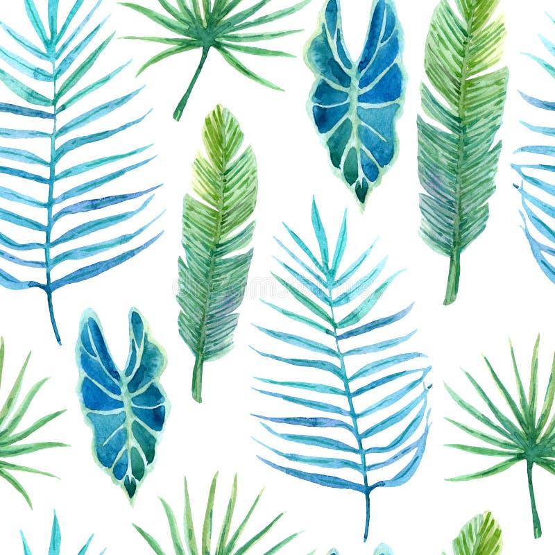 Bezszwowy wzór z luksusowym greenery tropikalne rośliny ilustracja wektor