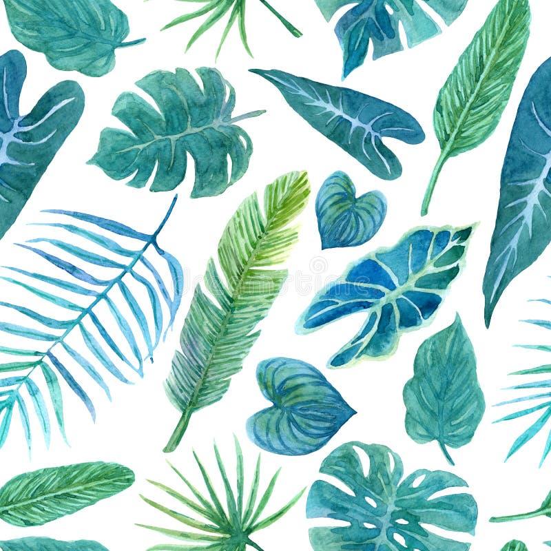 Bezszwowy wzór z luksusowym greenery tropikalne rośliny ilustracji