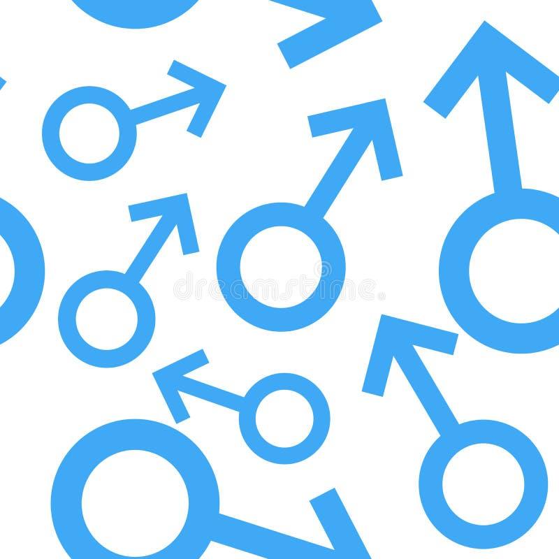 Bezszwowy wzór z męskimi symbolami Samiec podpisuje różnych rozmiary Rodzaj ikony również zwrócić corel ilustracji wektora ilustracja wektor