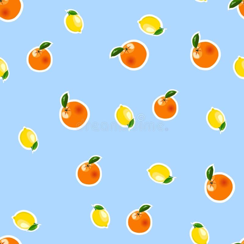 Bezszwowy wzór z małą cytryną, pomarańczowi majchery Owoc odizolowywająca na błękitnym tle ilustracja wektor