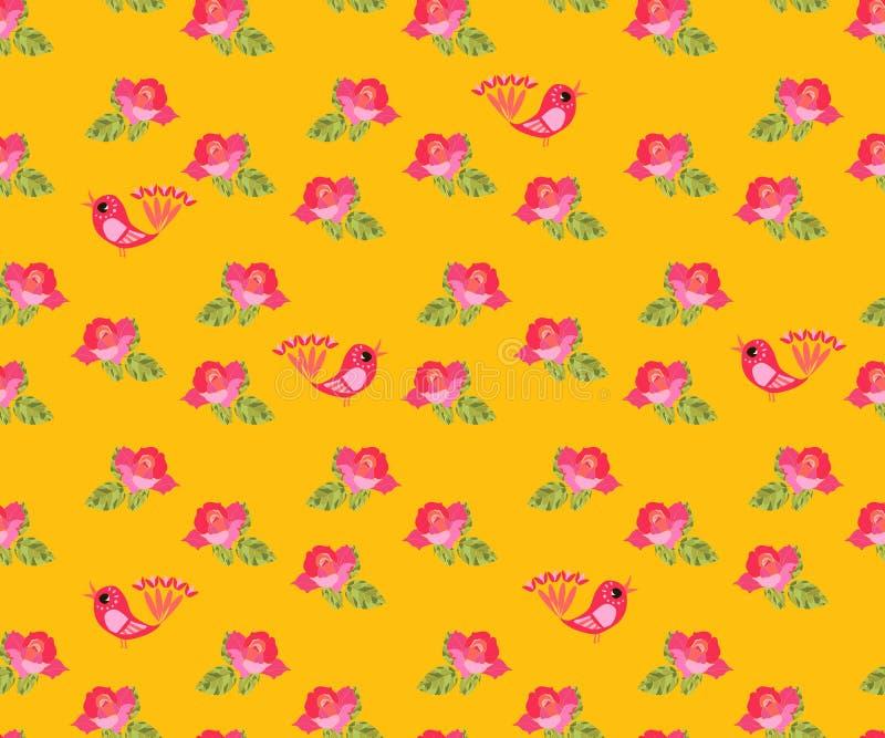 Bezszwowy wzór z małymi różowymi różami i fantazja ptakami ilustracji