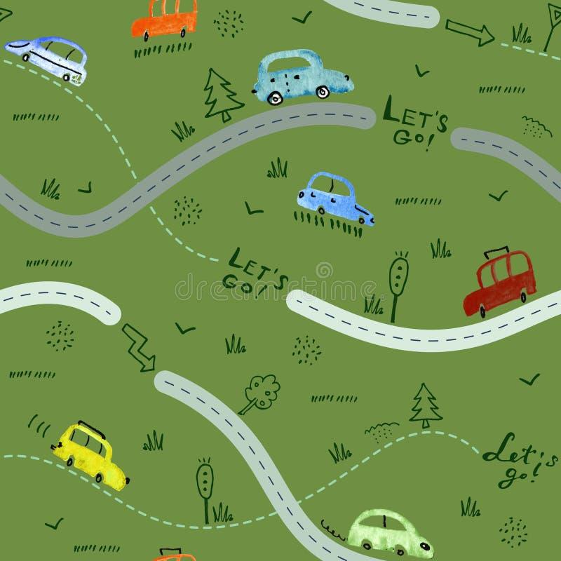 Bezszwowy wzór z małymi samochodami i drogowymi znakami na zielonym tle ilustracja wektor