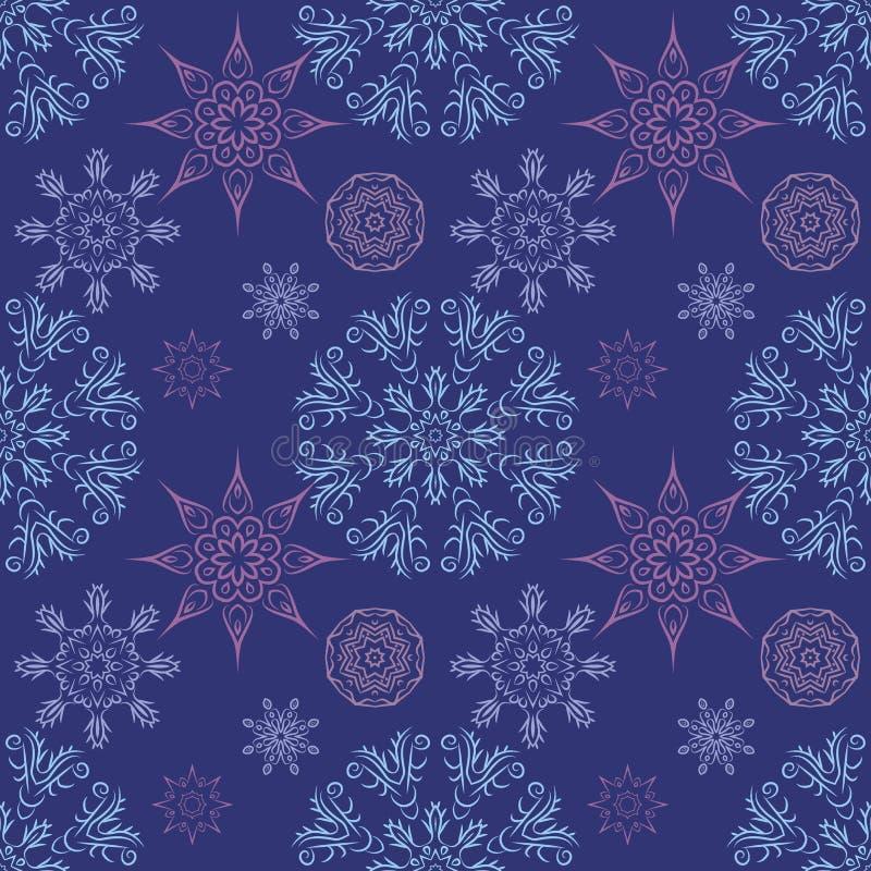 Bezszwowy wzór z mandalas płatkami śniegu w pięknych kolorach dla twój projekta Wektorowy tło royalty ilustracja