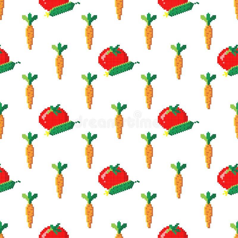 Bezszwowy wzór z marchewką, ogórkiem i pomidorem na białym tle 8 kawałków piksla, r?wnie? zwr?ci? corel ilustracji wektora Stara  fotografia stock