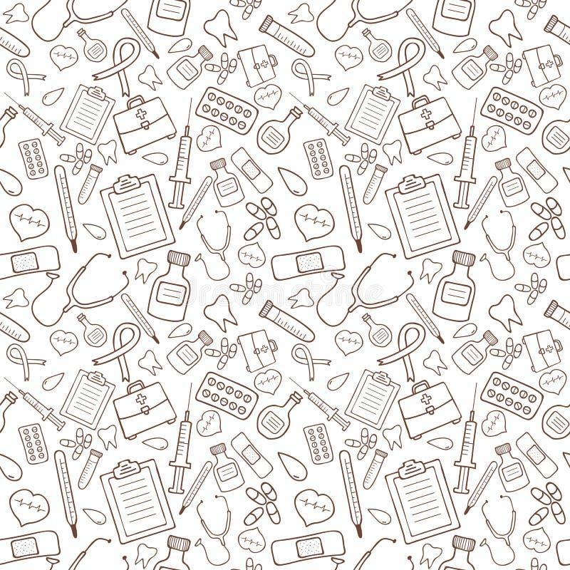 Bezszwowy wzór z medycznymi ikonami na białym tle