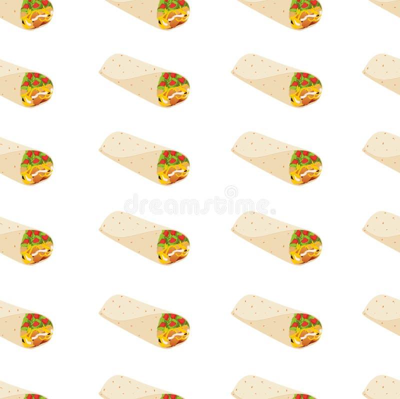 Bezszwowy wzór z meksykańskim burrito royalty ilustracja