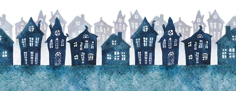 Bezszwowy wzór z mgłowymi ulicami malował w akwareli ilustracja wektor