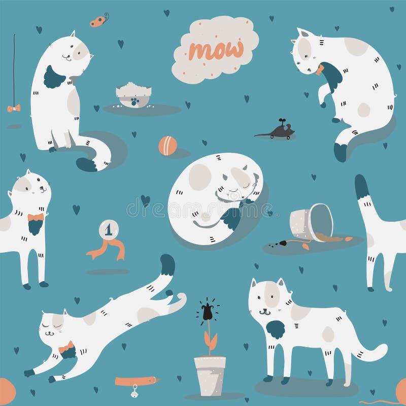 Bezszwowy wzór z miłymi ostrymi białymi kotami, zabawa, elegancka Wektorowa ilustracja z kotów akcesoriami - jedzenie, zabawki, ł ilustracji