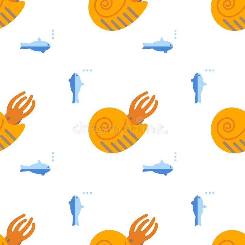 Bezszwowy wzór z mieszkanie stylu ikoną amonit Tło z antycznymi shellfish dla różnego projekta royalty ilustracja