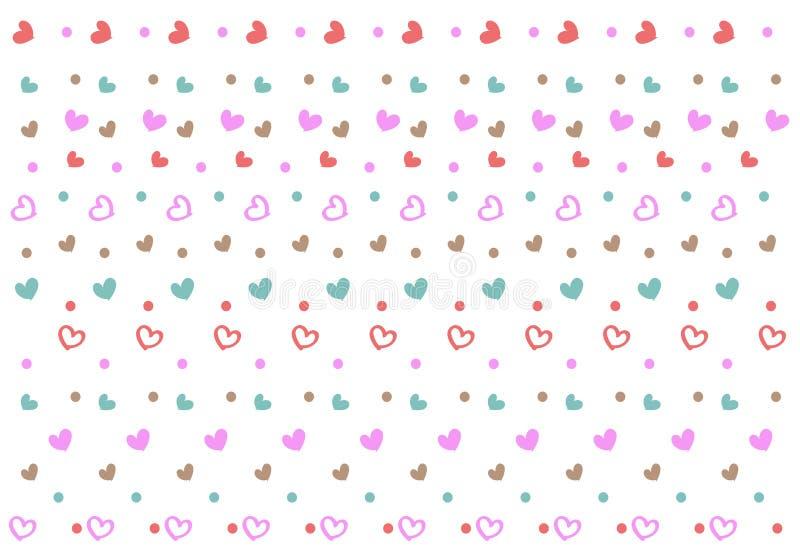 Bezszwowy wzór z minymi sercami i kropkami royalty ilustracja