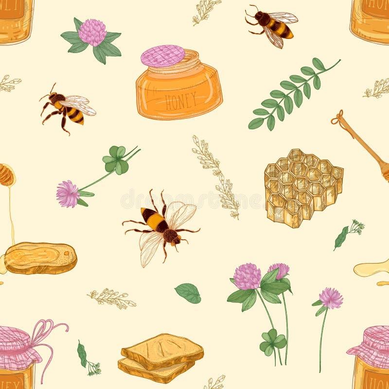 Bezszwowy wzór z miodem, pszczołami, honeycomb, roślinami, słojem i chochlą na lekkim tle, lipowych, akacjowych, koniczyny, ilustracja wektor