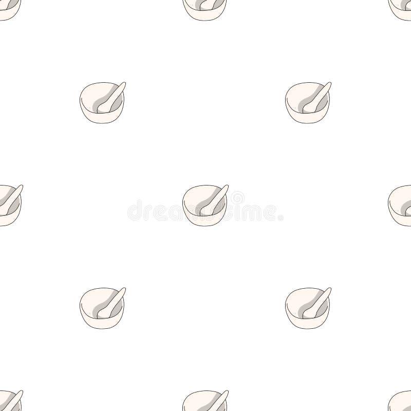 Bezszwowy wzór z moździerzem i tłuczkiem na białym tle r?wnie? zwr?ci? corel ilustracji wektora royalty ilustracja