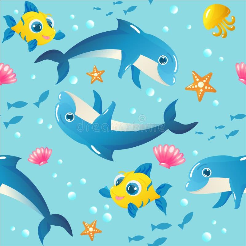 Bezszwowy wzór z morskimi zwierzętami royalty ilustracja