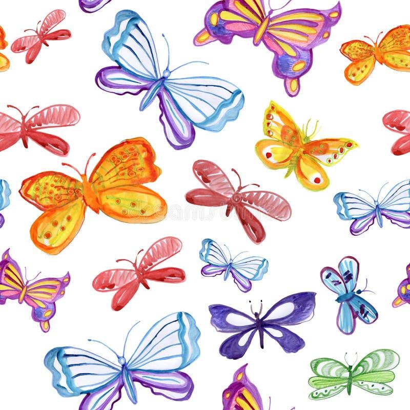 Bezszwowy wzór z motylami ilustracja wektor