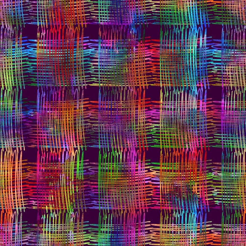Bezszwowy wzór z muśnięć uderzeniami i lampasami Tęczy akwareli kolor na fiołkowym tle Ręka malujący folwarczek ilustracji