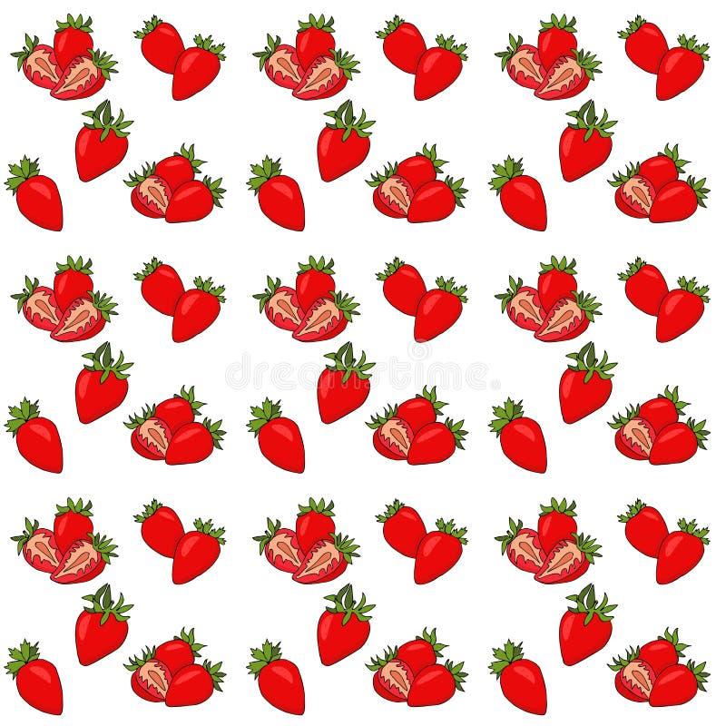 Bezszwowy wzór z odosobniona ręka rysującą czerwoną truskawką Wektorowy Illustrarion z jagodami i truskawka plasterkami ilustracja wektor