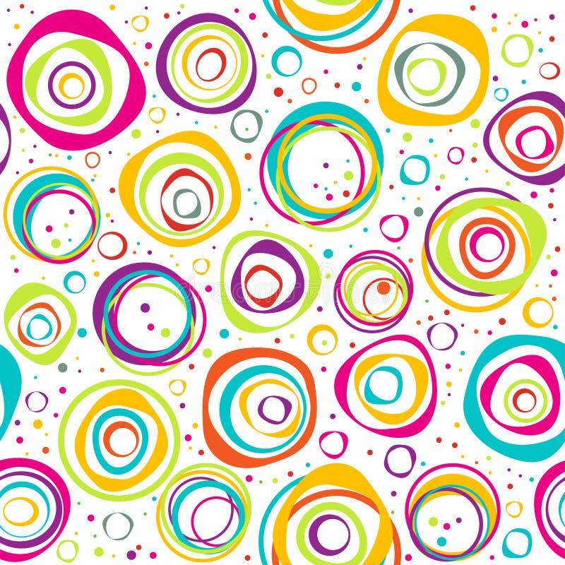 Bezszwowy wzór z okręgami i kropkami na białym tle ilustracja wektor