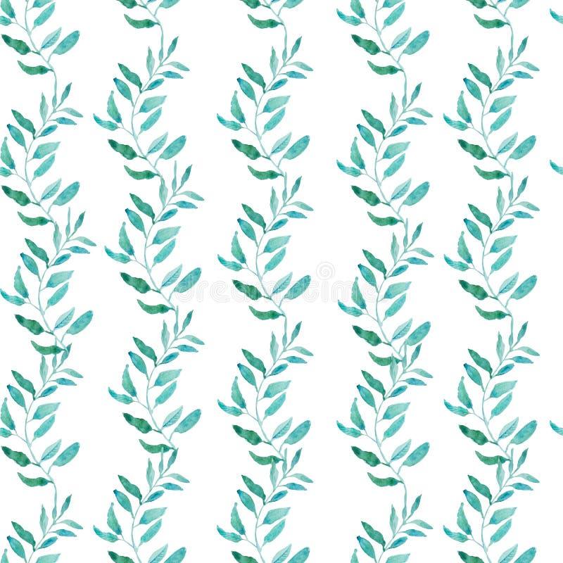 Bezszwowy wzór z oliwki lub zielonej herbaty liśćmi ilustracja wektor