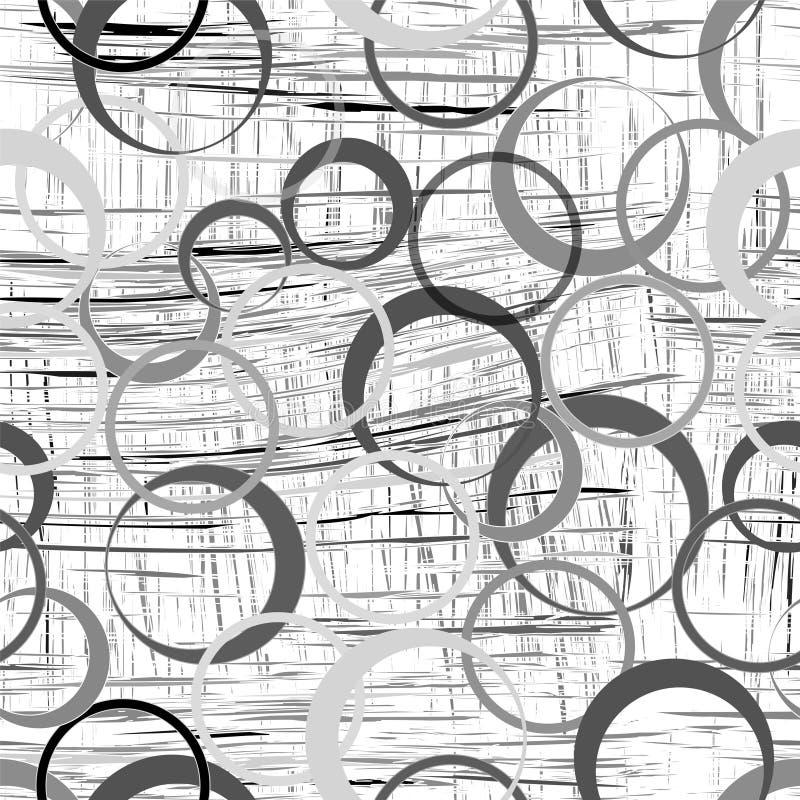 Bezszwowy wzór z owalnymi elementami na grunge paskował tło w czerni, popielatym, biel kolory royalty ilustracja