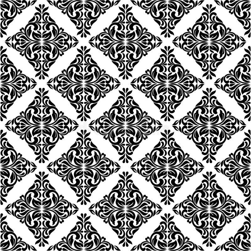 Bezszwowy wzór z ozdobnym Adamaszkowym ornamentem na białym tle Projekt kędziory i roślina elementy ilustracji