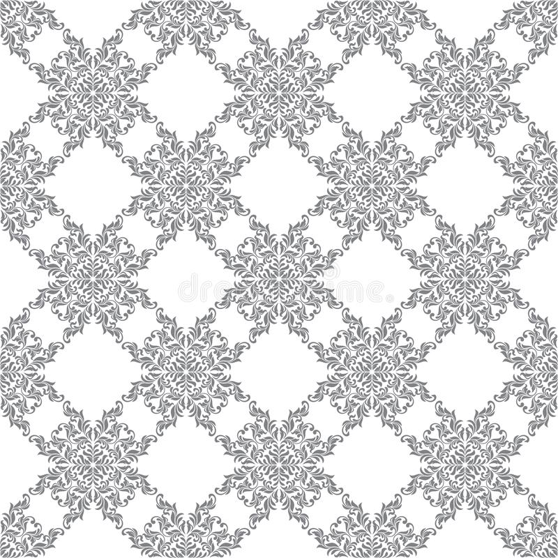 Bezszwowy wzór z ozdobnym Adamaszkowym ornamentem na białym tle Projekt kędziory i roślina elementy ilustracja wektor