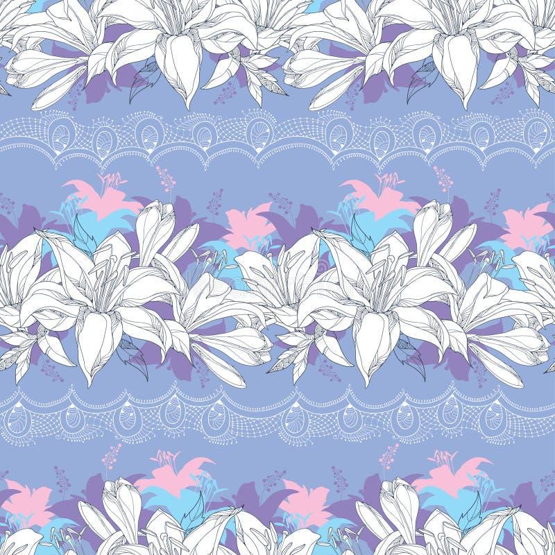 Bezszwowy wzór z ozdobnym leluja kwiatem w bielu royalty ilustracja