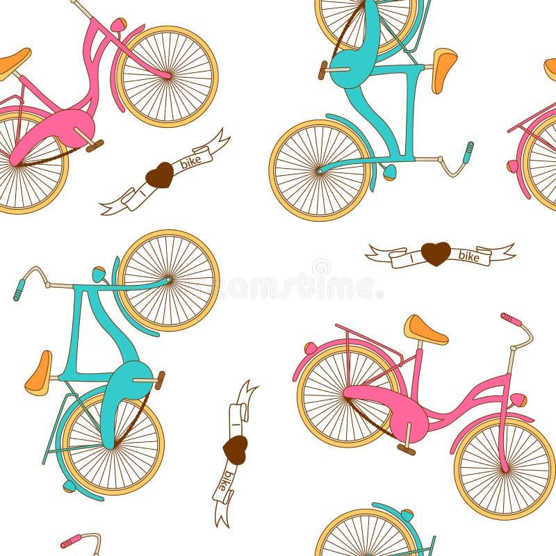 Bezszwowy wzór z płaskim retro bicyklem dla chłopiec i dziewczyny ilustracji
