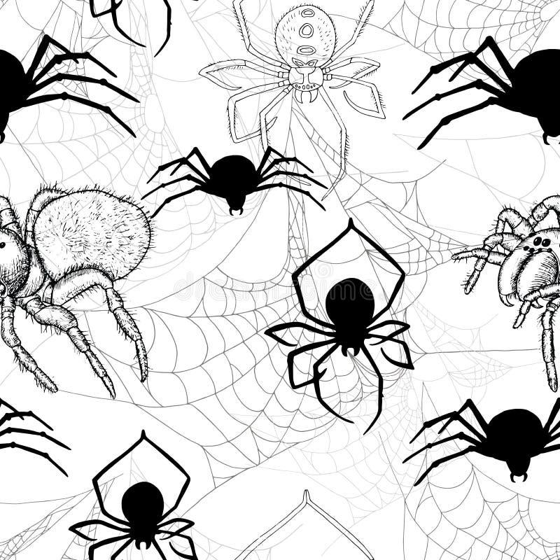 Bezszwowy wzór z pająkami i pajęczyną ilustracji