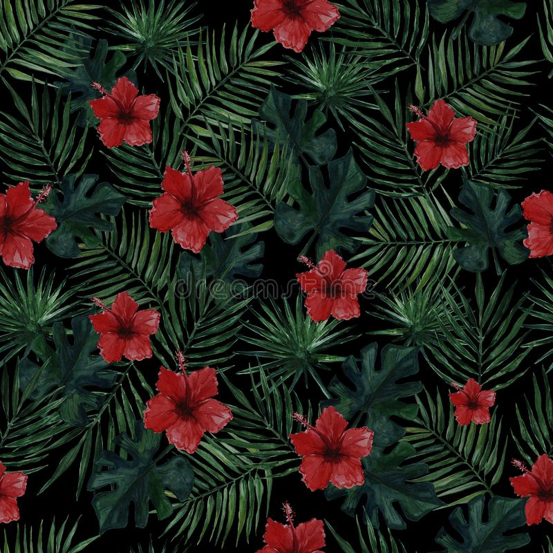 Bezszwowy wzór z palmą opuszcza, monstera opuszcza i czerwony poślubnik kwitnie na czarnym tle beak dekoracyjnego lataj?cego ilus ilustracji