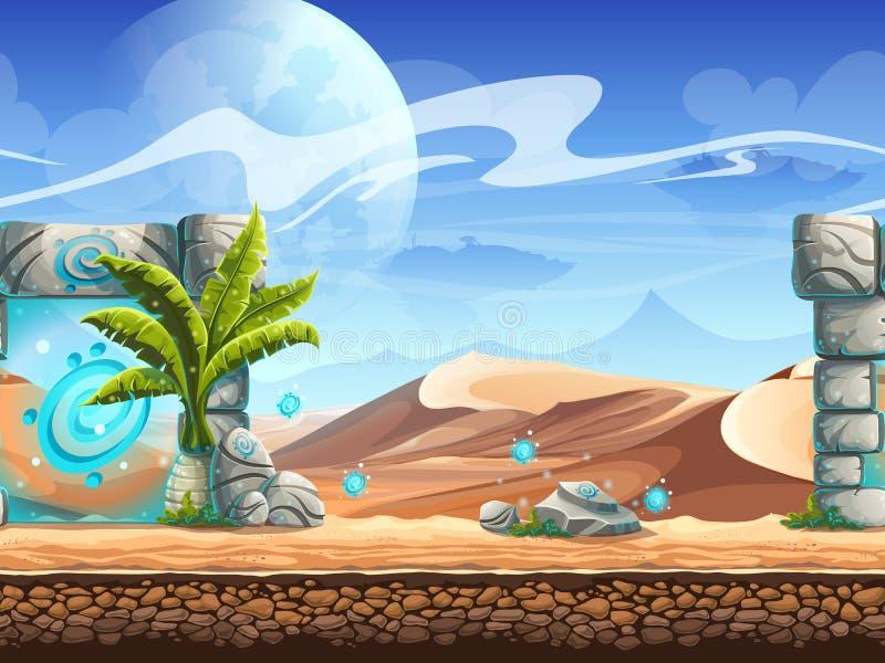 Bezszwowy wzór z palmy pustynią i magicznym portalem royalty ilustracja
