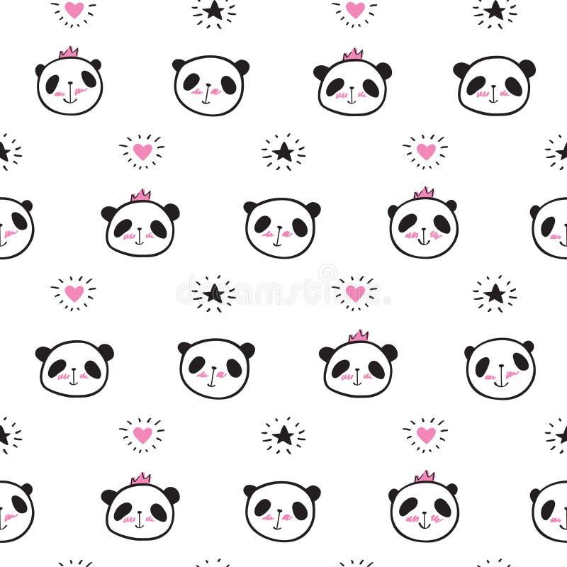 Bezszwowy wzór z pandami, sercami i gwiazdami ręki rysującymi ślicznymi, royalty ilustracja