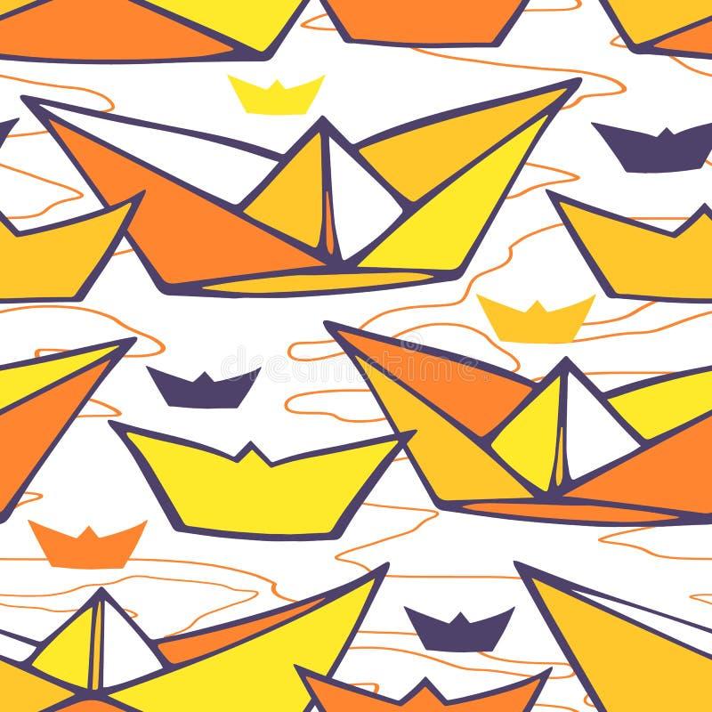 Bezszwowy wzór z papierowymi statkami ilustracja wektor