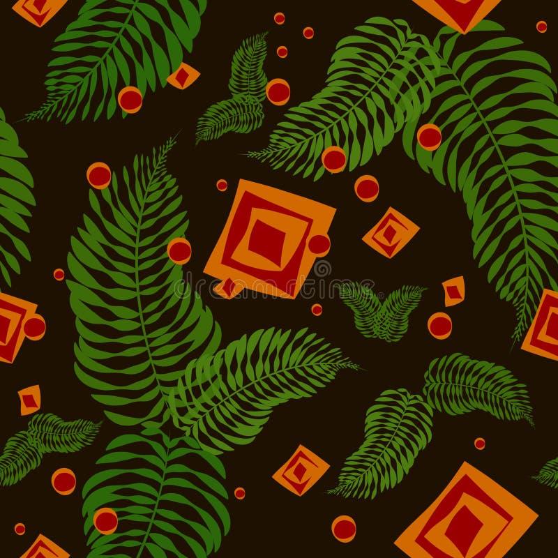 Bezszwowy wzór z paproć liśćmi i geometrycznymi elementami royalty ilustracja
