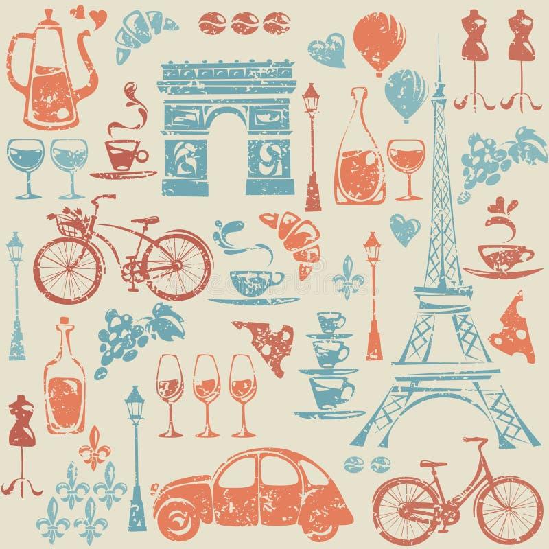 Bezszwowy wzór z Paryż, Francja elementami/. royalty ilustracja
