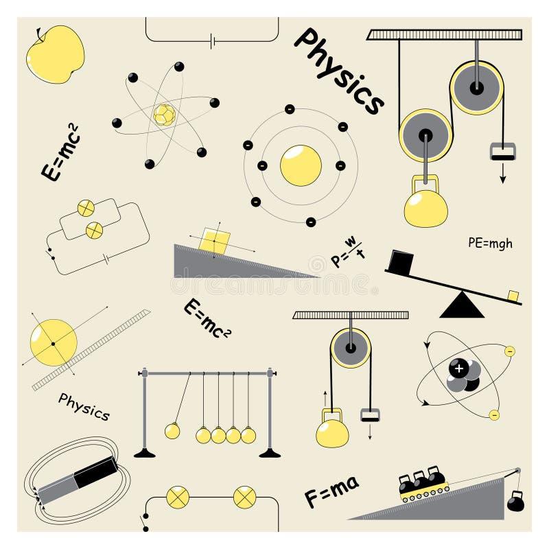 Bezszwowy wzór z physics elementami royalty ilustracja