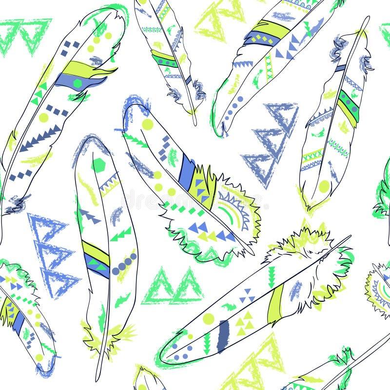 Bezszwowy wzór z piórkami w amerykańskich hindusach projektuje, wektor ilustracja wektor