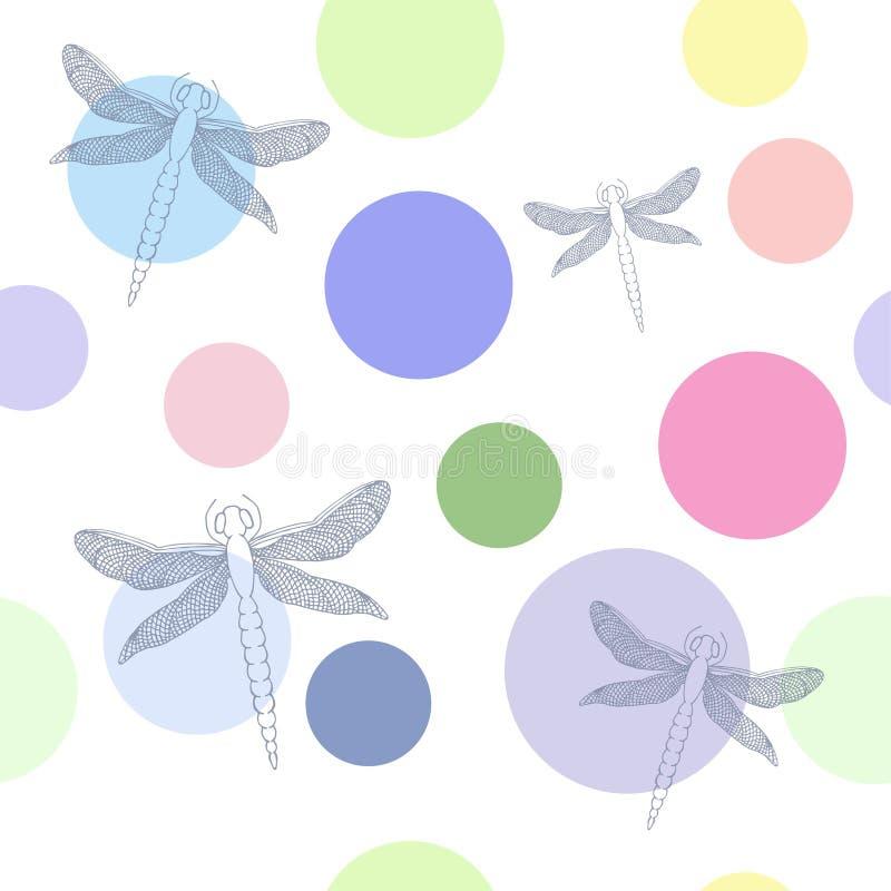 Bezszwowy wzór z pięknymi dragonflies i kolorowymi cyklami royalty ilustracja