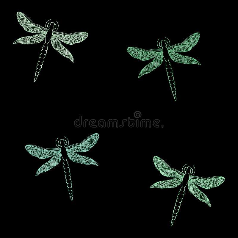 Bezszwowy wzór z pięknymi dragonflies Ręka rysujący wektor Ja royalty ilustracja
