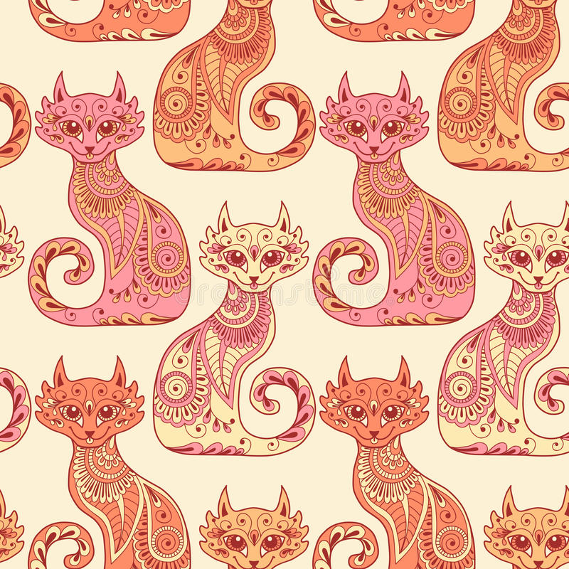 Bezszwowy wzór z pięknymi kotami w etnicznym ilustracji