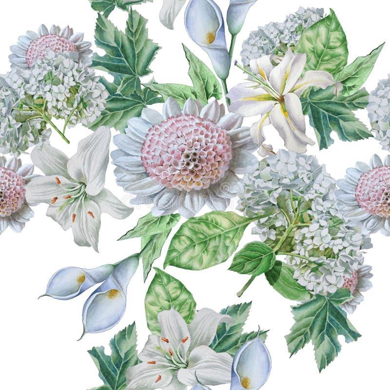 Bezszwowy wzór z pięknymi kwiatami lilia kalia hortensja royalty ilustracja