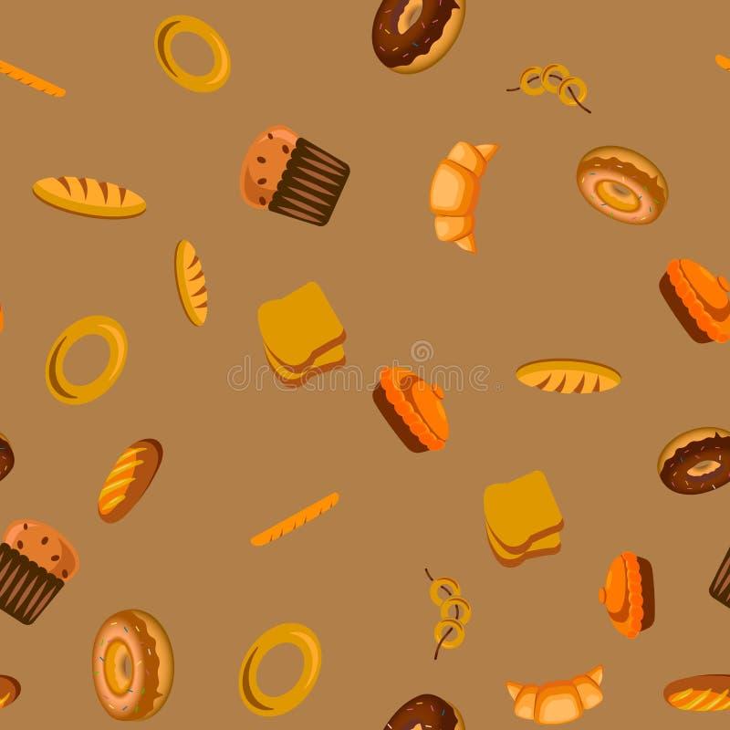 Bezszwowy wzór z piekarnianymi chlebami wektor royalty ilustracja