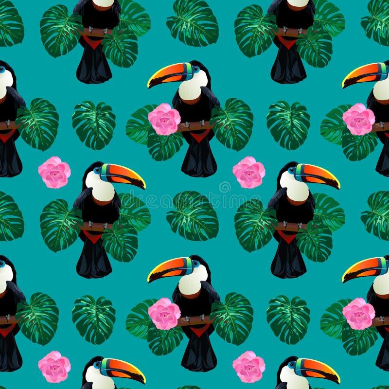 Bezszwowy wzór z pieprzojada ptasim obsiadaniem na gałąź wokoło palmowego monstera opuszcza i kwitnie ilustracja wektor