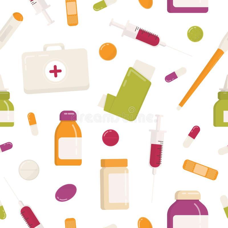 Bezszwowy wzór z pierwsza pomoc zestawem, inhalatorem, pigułkami, lekami, lekarstwami, strzykawką i innymi medycznymi narzędziami royalty ilustracja