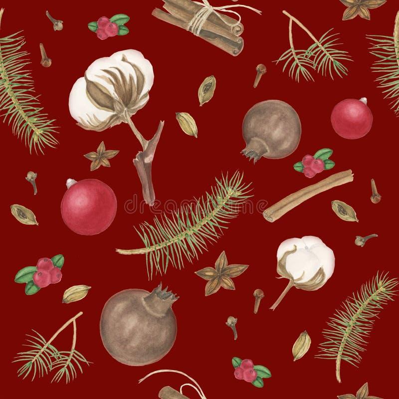 Bezszwowy wzór z pikantność, bawełną i gałąź drzewo, akwarela obraz ilustracji