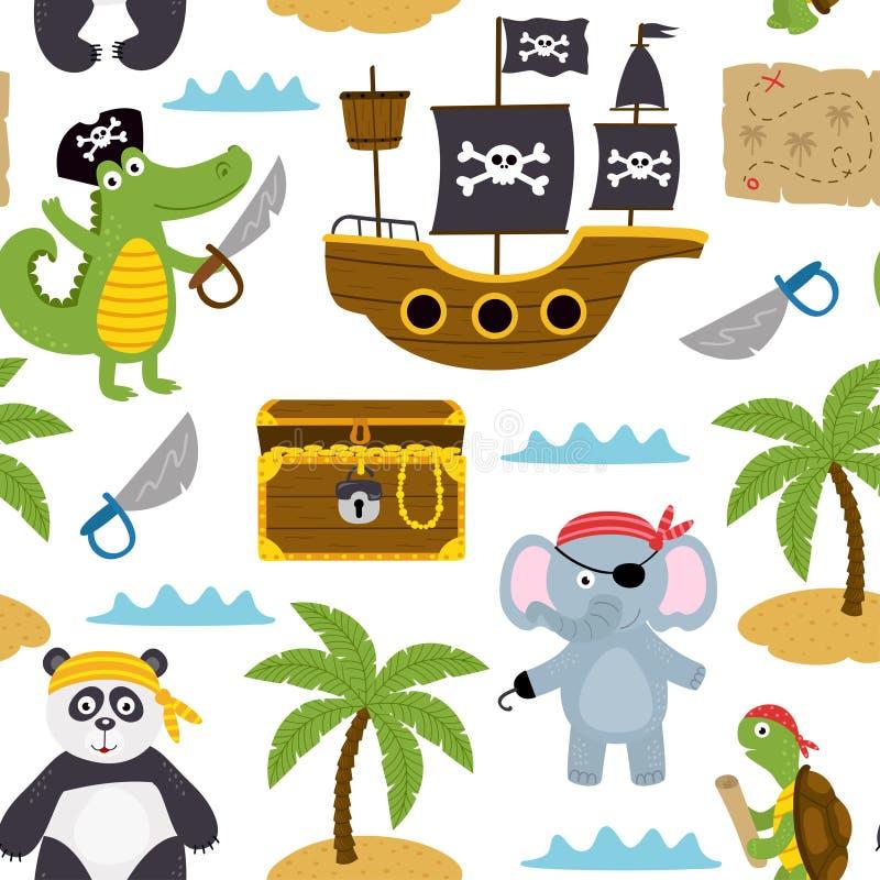 Bezszwowy wzór z piratów zwierzętami i innymi elementami na białym tle royalty ilustracja