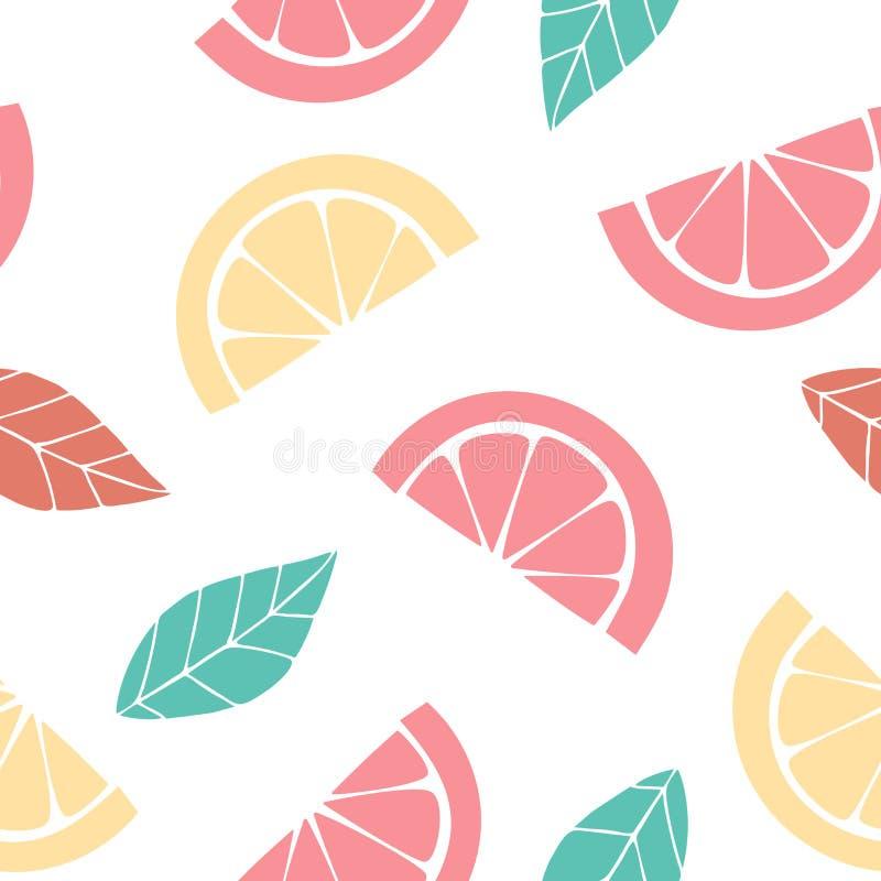 Bezszwowy wzór z plasterkami cytrus Graficzny rysunek pomarańcze, cytryna i liście, ilustracja wektor