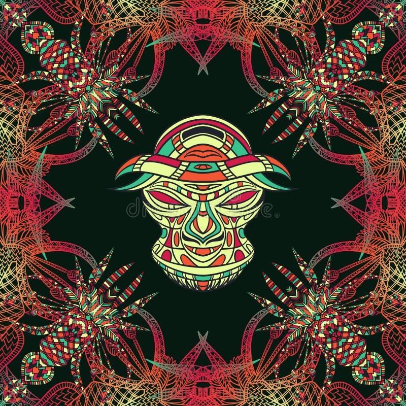 Bezszwowy wzór z plemienną maską i aztec geometrycznym latyno-amerykański ornamentem ilustracji