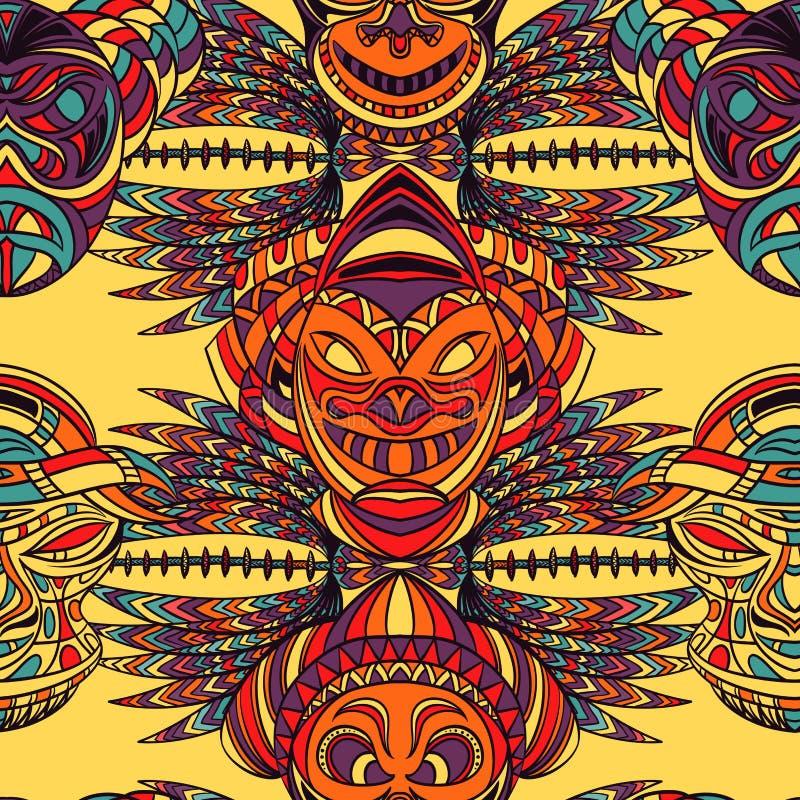 Bezszwowy wzór z plemienną maską i aztec geometrycznym latyno-amerykański ornamentem royalty ilustracja